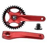 Dilwe Rueda de Piñónes de Bicicleta Manivela Hueca Integral Izquierda y Derecha Piñón de Sola Velocidad Sin Eje Central de Aleación de Aluminio (Rojo)