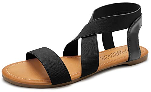 SANDALUP Elastic Ankle Strap Flat Sandals for Women Black 07