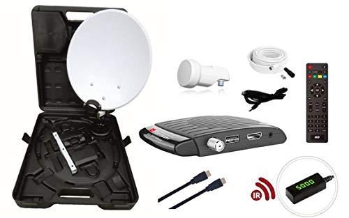 RED OPTICUM Camping Sat Anlagen Komplettset HD I Mobile Satelliten-Anlage mit Opticum AX 300 Mini V3 Sat-Receiver - Single LNB - Camping Koffer Set - HDMI Kabel UVM. I Camping Sat-Anlage komplett