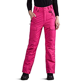 FREE SOLDIER Women s Outdoor Waterproof Windproof Breathable Snow Ski Pants Winter Insulated Snowboarding Skiing Pants  Rose Red Medium 8-10 /32L