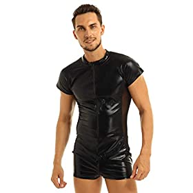 zdhoor Men Patent Leather Front Zipper Short Sleeve Mesh Bodysuit Jumpsuit Catsuit Clubwear