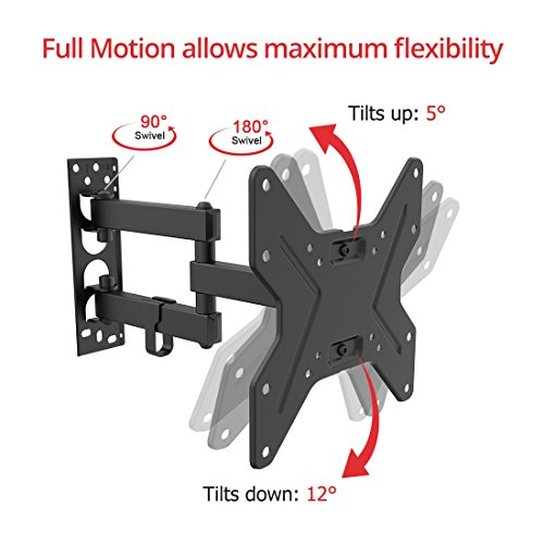 Fleximounts A23 Support Mural TV Articulé Movement Flexible Inclinable Pivotant pour l'écran Plat LED LCD Plasma (Taille de TV: 13-42 Pouces)
