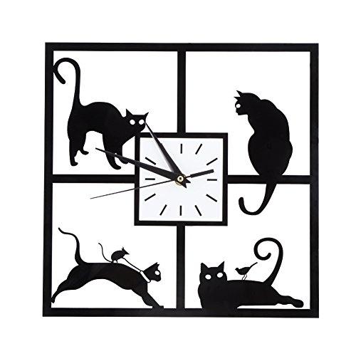 3D Black Cat Orologio da parete in acrilico Orologio da parete moderno ultra muto Orologio da gatto Orologio in acrilico silenzioso Orologio creativo muto Orologio al quarzo per soggiorno Camera da le