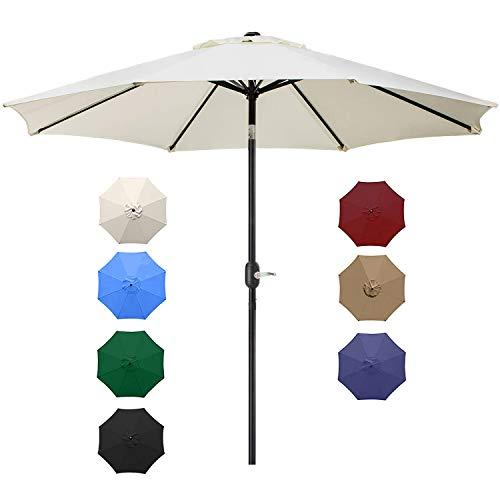 UHINOOS 9FT Patio Umbrella, Outdoor Umbrella with Crank and 8 Ribs, Polyester Aluminum Alloy Pole Tilt Button Outside Table Umbrella, Fade Resistant Water Proof Patio Table Umbrella (Ivory)