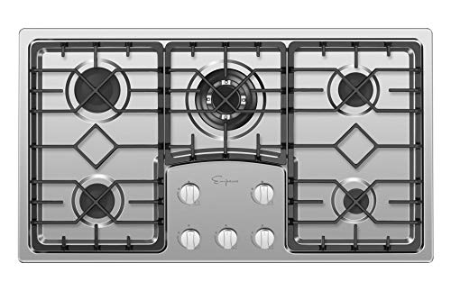 """Empava 36"""" Gas Cooktop with 5 Italy Sabaf Sealed Burners NG/LPG Convertible in Stainless Steel Model 2020, 36 Inch"""
