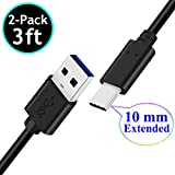 2-Pack 3FT 10mm Extended Long Tip USB-C Data Sync Fast