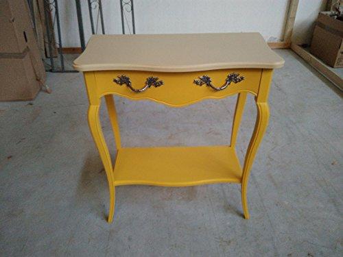 Legno&Design Console d'entrée petit bureau avec 1 tiroir beige et jaune doré