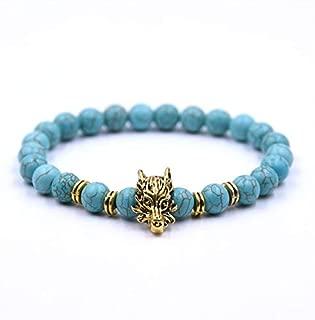 BAOKUANH Bracelet Gold-Color Beaded Bracelet Black Lava Stone Bead Bracelets For Men Women Charm Jewelry Bracelets