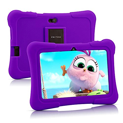 Pritom 7 inch Kids Tablet, Quad Core Android 10,16GB Storage, WiFi, Bluetooth, Dual Camera, Educationl, Games, Parental Control, Kids Software Pre-Installed with Kids-Tablet Case (Purple)