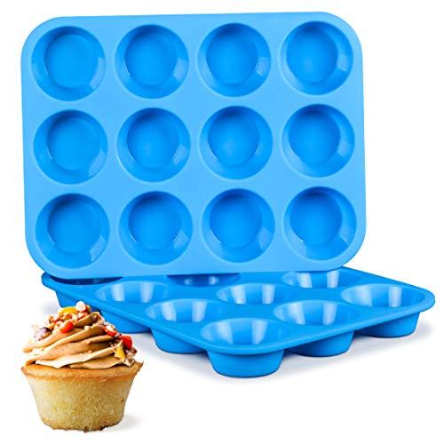 Silicone Muffin Pan, Regular 12-Cup European LFGB Cupcake Pan for Baking Muffin, Cake, Fat Bomb, Pudding 2-Pack Nonstick BPA Free