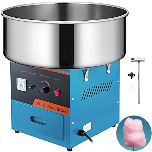 VBENLEM Electric Candy Floss Maker 20.5 Inch Cotton Candy Machine Blue Cotton Candy Maker Commercial 1030W for Various Parties