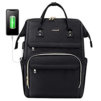 Laptop Backpack for Women Fashion Travel Bags Business Computer Purse Work Bag with USB Port Black