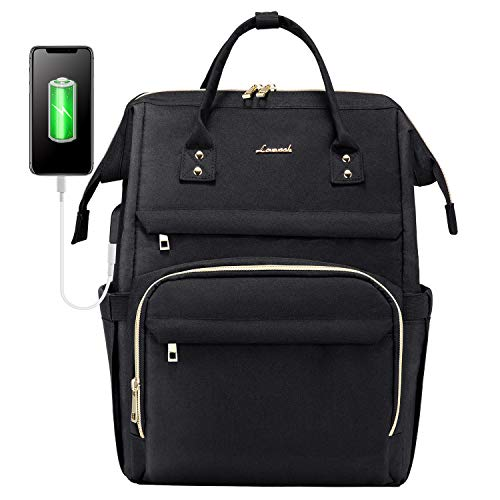 Laptop Backpack for Women Fashion Travel Bags Business Computer Purse Work Bag with USB Port, Black, 17-Inch
