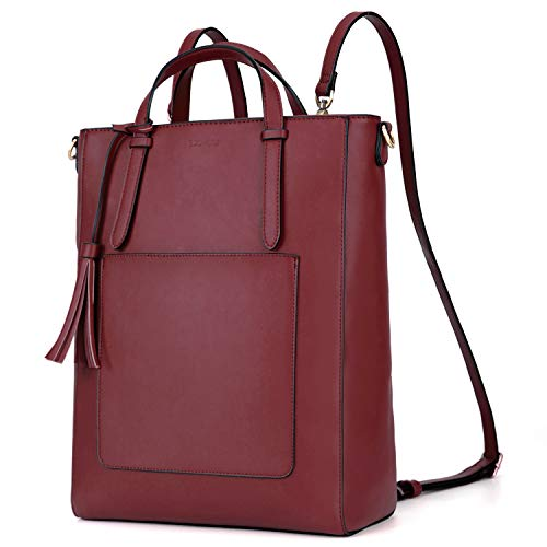 ECOSUSI Convertible Backpack 3 in 1 Fashion Women Bag PU Leather Satchel Backpack Ladies Water Resistant Daypack 14 inch Laptop Bag
