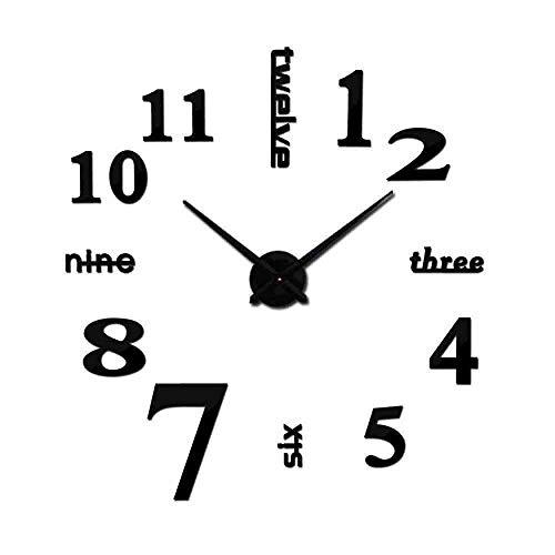 JPDP Venta caliente 3D Reloj de pared Acrílico Espejo Diy Relojes Dormitorio Reloj de pared Grote Wandklok Diseño moderno Sala de estar,Black