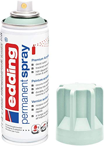edding 5200 Permanent-Spray - mild mint matt - 200 ml - Acryllack zum Lackieren und Dekorieren von Glas, Metall, Holz, Keramik, lackierb. Kunststoff, Leinwand, u. v. m. - Sprühfarbe