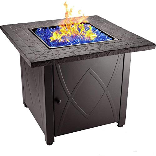 "Endless Summer 30"" Outdoor Propane Gas Fire Pit Table (Blue Fireglass)"