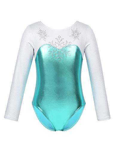 YiZYiF Maillot Gimnasia Rítmica Niñas Disfraz Princesa Nieve Azul Maillot Ballet Brillante Niñas Body Patinaje Leotardo Danza Traje Bailarina Rendimiento Azul Body Manga Larga 4 Años