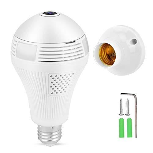 960P 1.3MP HD 360 ° Panorámico WiFi DVR Cámara Luz de bombilla Monitoreo remoto Cámara de seguridad inteligente, para sistema de seguridad del hogar, detección de movimiento y conversación bidireccion