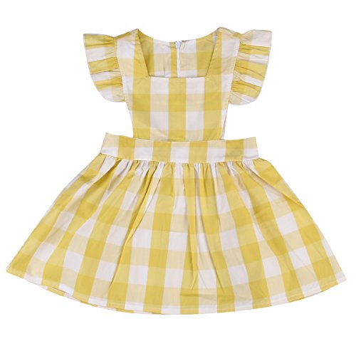 Toddler Girls Plaids Check Dress Fly Sleeve One-Piece Dresses Playwear Baby Girl Clothes (4-5 Years, Yellow)