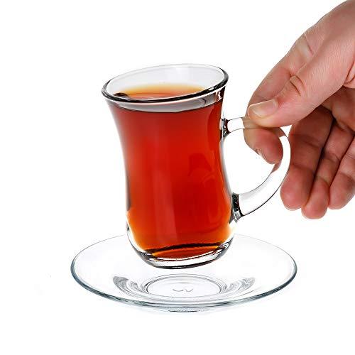 Juego de 12 tazas de té turco de cristal transparente con mango y 6 platillos de cristal