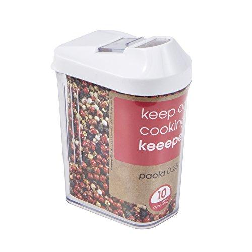 keeeper Paola Dispensador de Cereales, PE/San, Blanco, 6.5 x 4 x 12 cm
