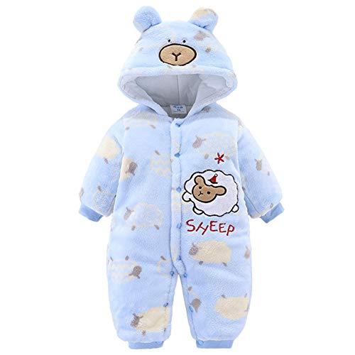 YFPICO Otoño Invierno Pijama de Una Pieza para Bebé Recién Nacidos Engrosado Mamelucos Cálida Acolchado Peleles Infantil Monos, Cordero Azul, 6-9 Meses Etiqueta 73