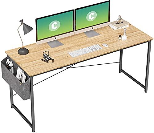 Cubiker Computer Desk 55 inch Home Office Writing Study Desk, Modern Simple Style Laptop Table with Storage Bag, Natural