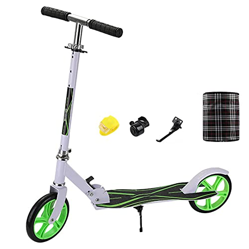 OFFA Kick Scooter For Teens/adults Scooter Folding Freestyle With Height Adjustable Scooter 8 Inches Big Wheels Light Portable Commuter Trick Scooter Gift For Kids Age 7 Years And Up (Color : White)