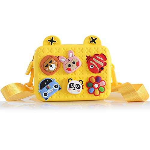 KRIEITIV Little Girls Crossbody Bag Mini Cartoon Shoulder Bag Kids Tide Satchel for Girls Boys EVA Material with Adjustable Strap Replaceable Decoration as A Gift (Yellow)