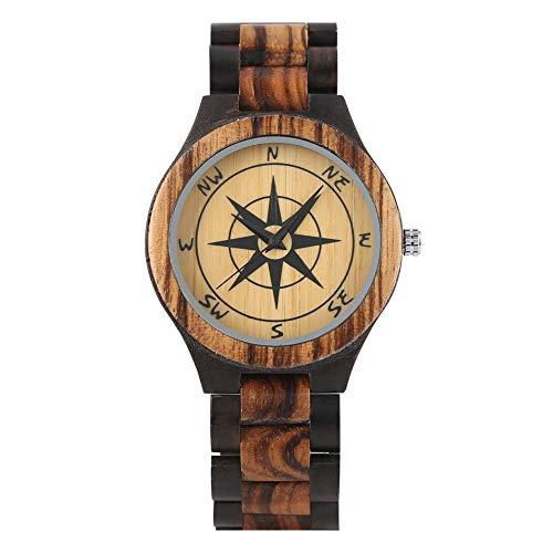 Reloj vintage de madera de cebra de ébano negro para hombres, conciso cuarzo brújula patrón relojes para hombre, único reloj de pulsera de madera natural para niños