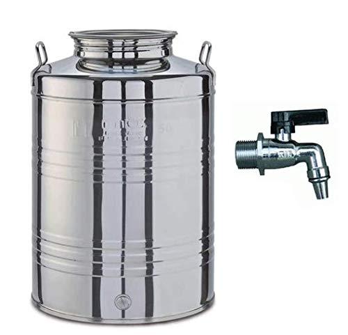 PEBSHOP Contenitore Bidone Fusto per Olio ed Alimenti in Acciaio Inox (50 Litri Ø 37,5 x H. 55 cm.)