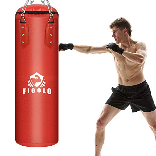 Figolo Punching Bag Filled Set for Adult/Kids, 42 Inches/ 40LBS Boxing Hanging Heavy Bag for Kickboxing Fitness Training Muay Thai MMA, Martial Arts, Home Gym.