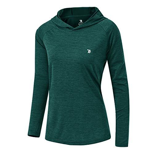 donhobo Damen UPF 50+ Sonnenschutz Hoodie Shirt Leichtgewicht Langarm Angeln Wandern Outdoor UV Shirt (Schwarzgrün, M)
