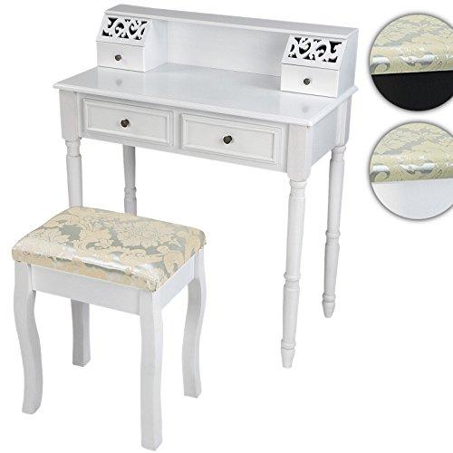 Miadomodo, tavolo da toeletta per trucchi con sgabello (4 cassetti) design...