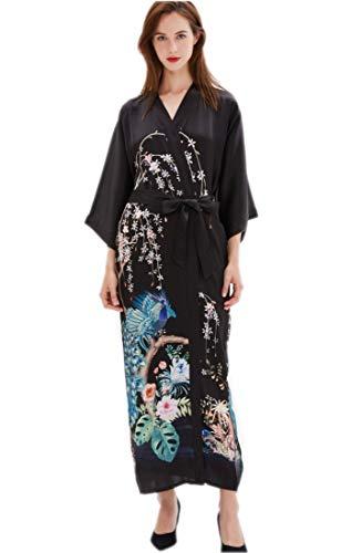 prettystern Damen Boden-lang 100% Seide Kimono Morgenmantel Robe Floral Garten Teich Schwarz L07