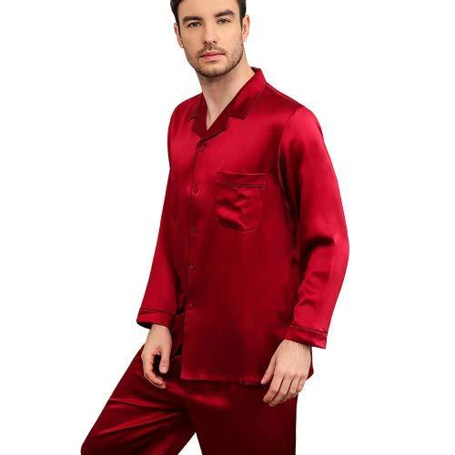 Pijama Seda Ropa de Dormir Ropa de Dormir Ropa de Noche Traje de Hombre 30 m Cinta verdadera Bolsillo en el Pecho Cintura elástica Seda con Botones, Conjunto de Pijamas