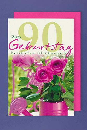 90 Geburtstag Karte Grußkarte Gießkanne Rosen Glückwunsch 16x11cm