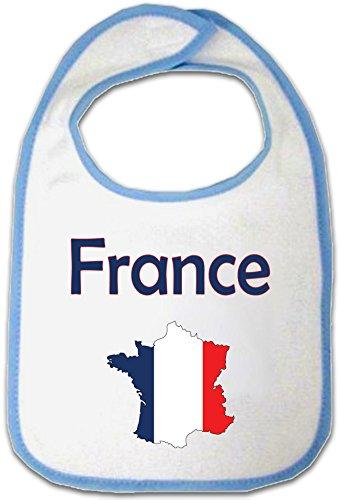 Yonacrea - Bavoir Bébé - Carte France avec son Drapeau (BLEU)