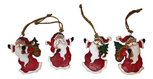 Hanna's Handiworks Santa Claus Christmas Ornaments Vintage Look Hanging Ornaments (Set of 4)