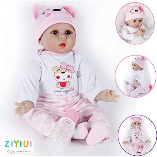 ZIYIUI Reborn Babypuppen Mädchen 55 cm 22 Zoll Silikon Rebornpuppen Handgefertigt Lebensechtes Reborn Dolls Neugeborenes Kinder Spielzeug Realistische Kind Geburtstagsgeschenk