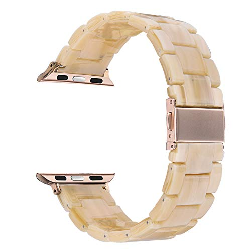 V-MORO Resin Band Compatible with Apple Watch Band 38mm 40mm iWatch Series 4/3/2/1 with Stainless Steel Buckle Copper Replacement Wristband Strap Women Men(Light Cream, 38mm(5