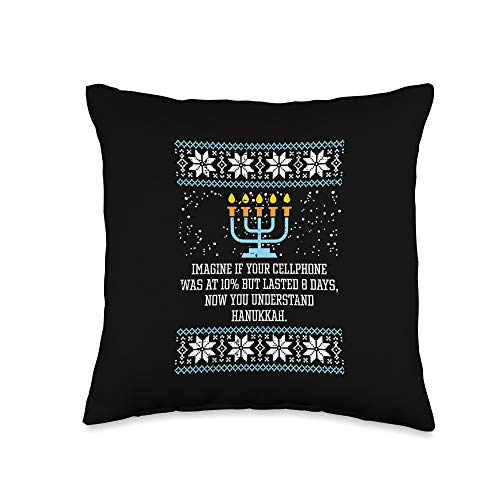 BoredKoalas Hanukkah Pillows Jew Chanukah Gifts Hanukkah Cellphone 8 Days Menorah Ugly Chanukah Jewish Gift Throw Pillow, 16x16, Multicolor