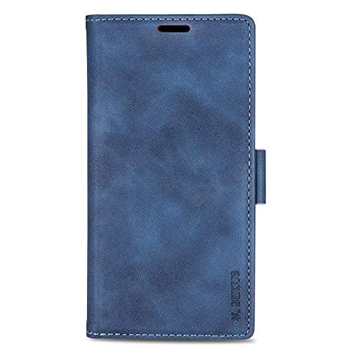 Capa carteira para Huawei Mate 20 Lite com TPU à prova de choque, compartimento para cartão, capa fólio protetora magnética de couro PU compatível com Huawei Mate 20 Lite (azul)