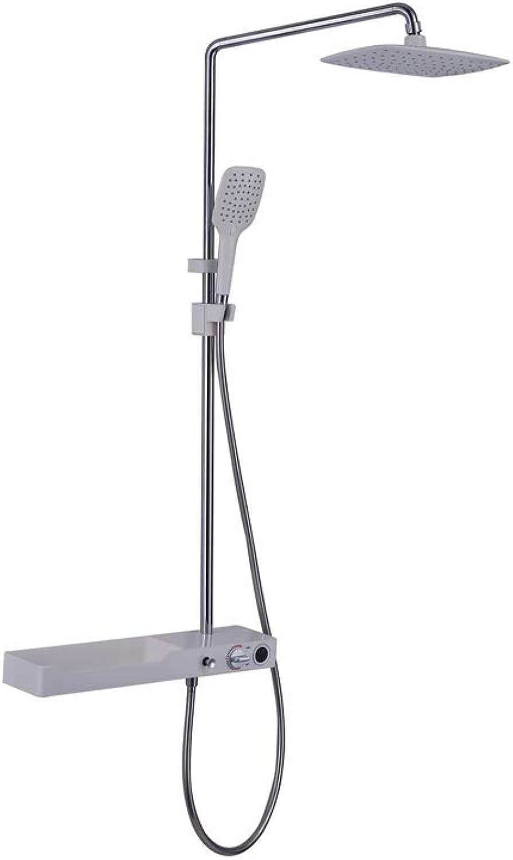 GFFXIXI Duscharmatur mit Regal Duschsystem Duschset Regendusche Rainshower inkl. Verstellbar Duschstange Handbrause überkopfbrause Badewanne