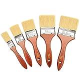 Astarye Lot de 5 pinceaux à peinture avec manche en bois pour murs et meubles Diamètre de 25mm 38mm 50mm 65mm 76mm