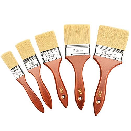 Astarye 5PCS Pennelli Per Verniciare Legno, Pennello Pittura Muro, Pennello Legno, Pennelli Pittura Legno -25/38/50/65/76 mm