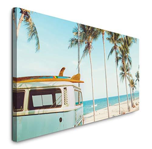 Paul Sinus Art GmbH Vintage Auto auf einem tropischem Strand 120x 50cm Panorama Leinwand Bild XXL Format Wandbilder Wohnzimmer Wohnung Deko Kunstdrucke