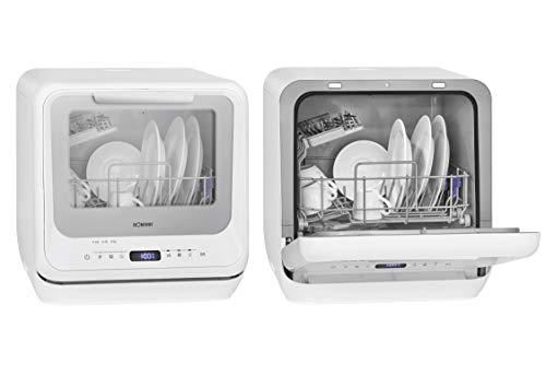 Bomann TSG 7402 - Mini lavastoviglie con e senza collegamento dell'acqua, 5 programmi, serbatoio dell'acqua da 5 l e illuminazione interna, colore: Bianco