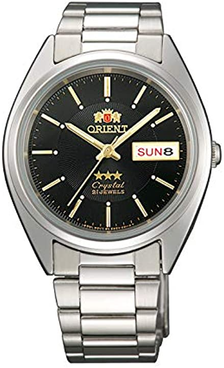 Orologio analogico orient automatico uomo unisex con cinturino in acciaio inox fab00006b9